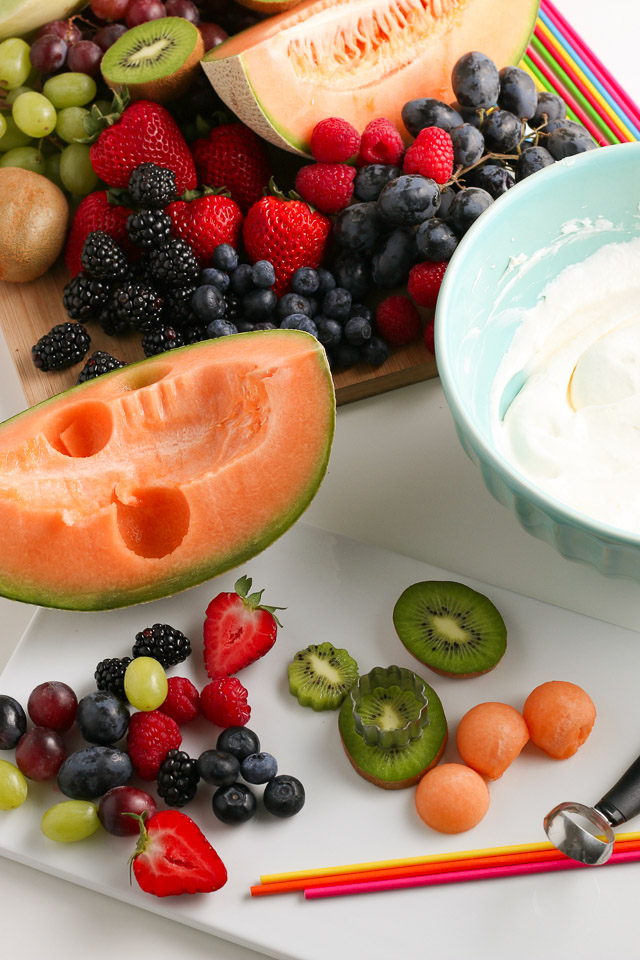 Fruit Kabobs and fruit dip ingredients