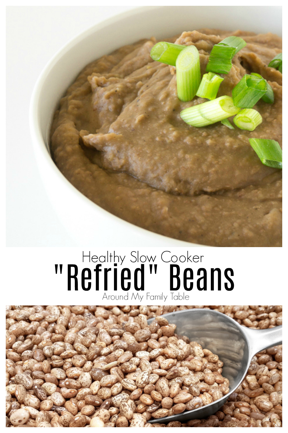 This refried beans recipe is easy to make in your crockpot or pressure cooker! It produces creamy smooth beans that can be used as a side dish, or added to tacos, burritos, and other Mexican slow cooker recipes. #refriedbeans #pintobeans #slowocooker #crockpot #instantpot #pressurecooker #mexicanfood #vegetarian via @slingmama