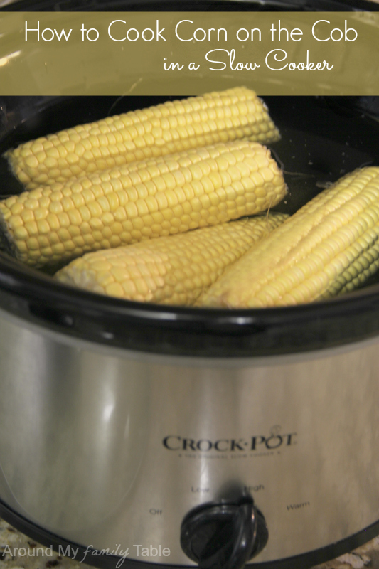 ears of corn on the cob in a slow cooker