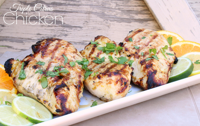 Triple Citrus Chicken is light and refreshing with tons of garlicy citrus flavor.  I love making it on the grill! It's so delicious, be sure you make lots of extra for meal use throughout the week.