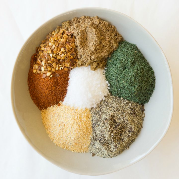 6 spices in a bowl to make a seasoning blend