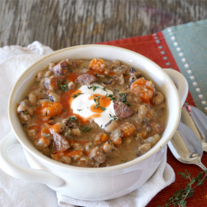 soup crock of black eyed pea soup made in a slow cooker
