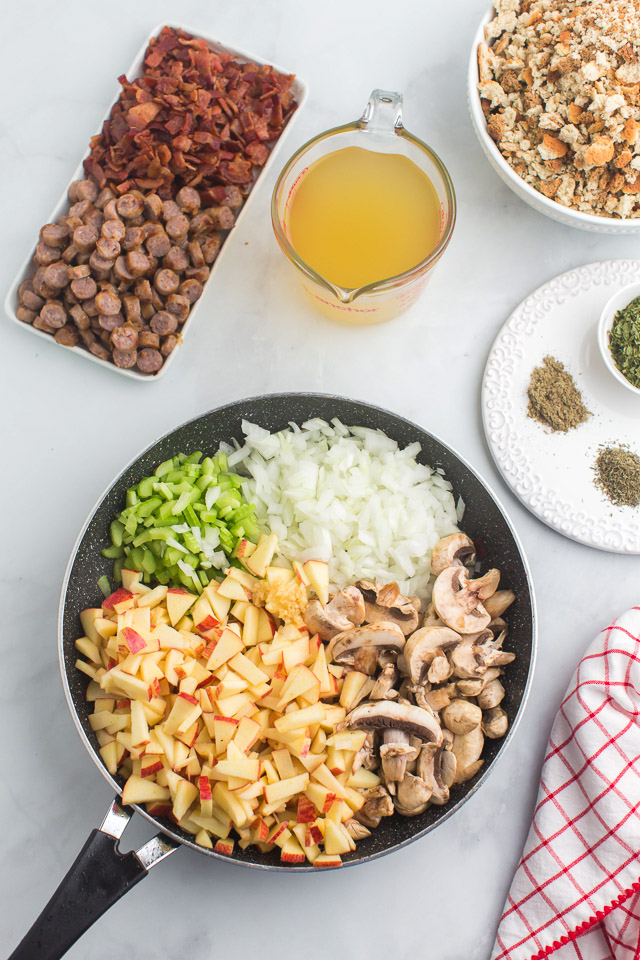 overhead photo: ingredients arranged in dishes to make sausage dressing recipe