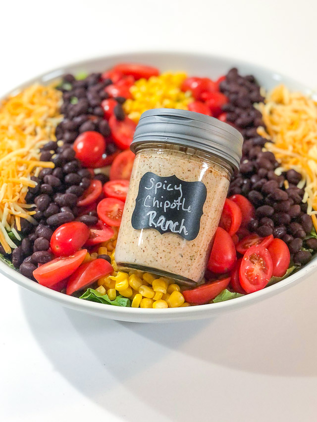 bottle of spicy chipotle ranch on southwestern salad