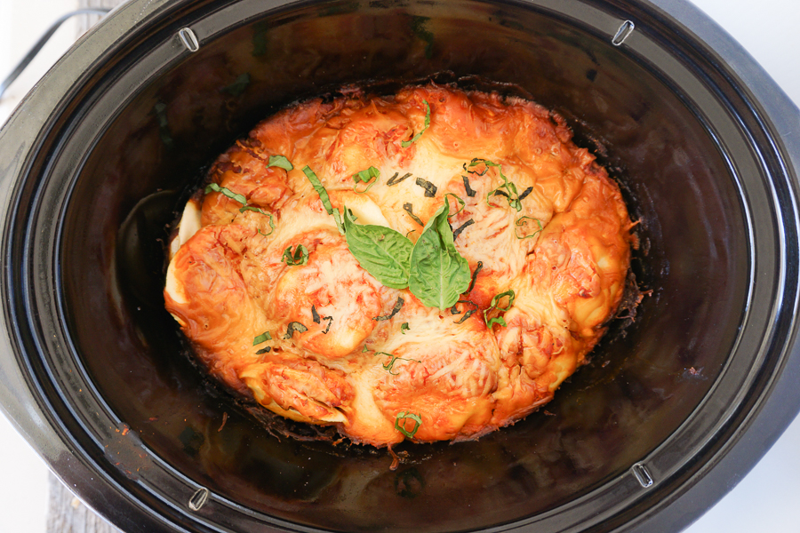 easy weeknight lasagna, shown after cooking in a slow cooker