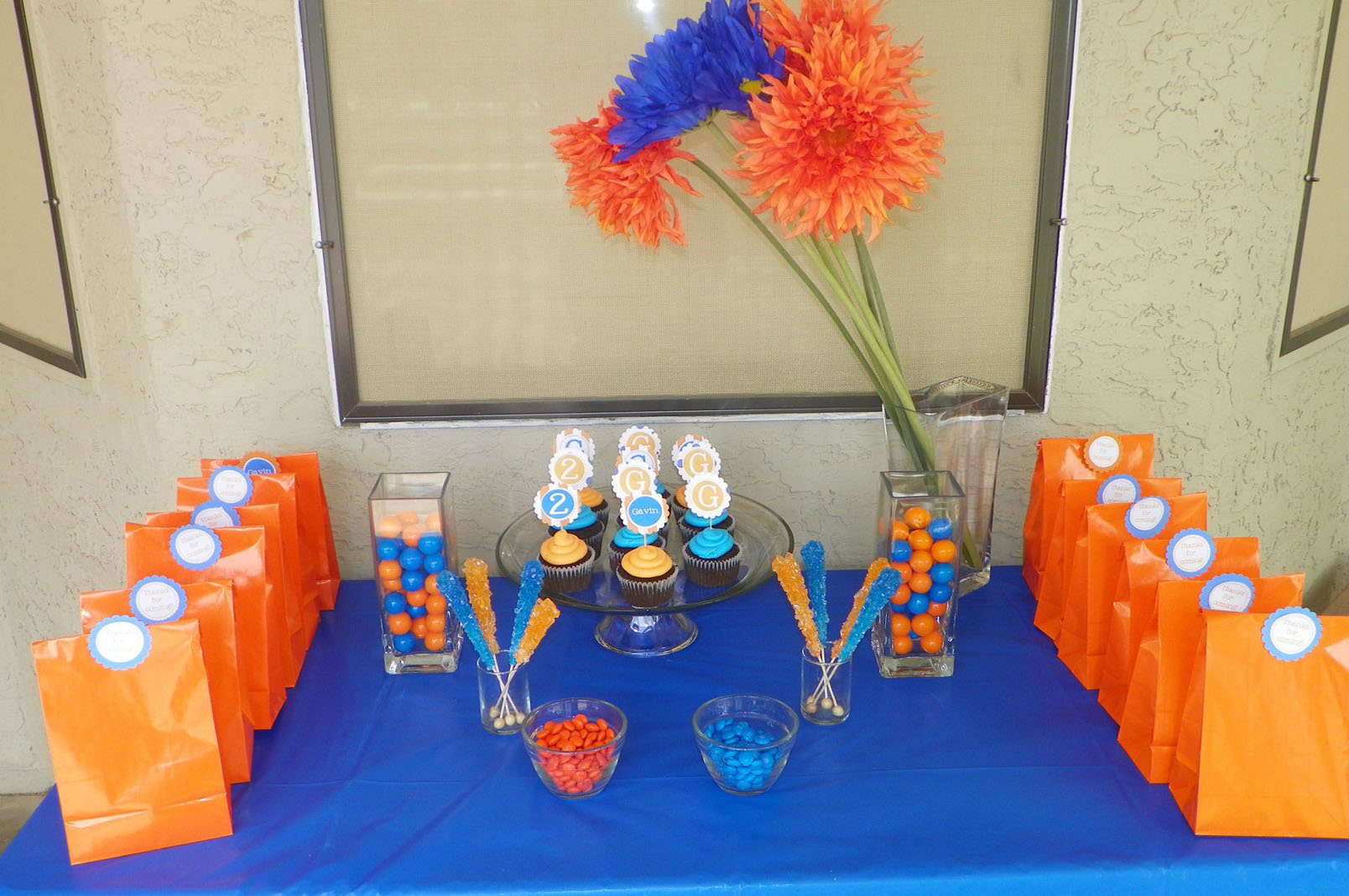 Blue & Orange Birthday Party Table