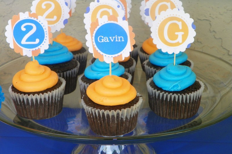 Blue and Orange Birthday Party Cupcakes