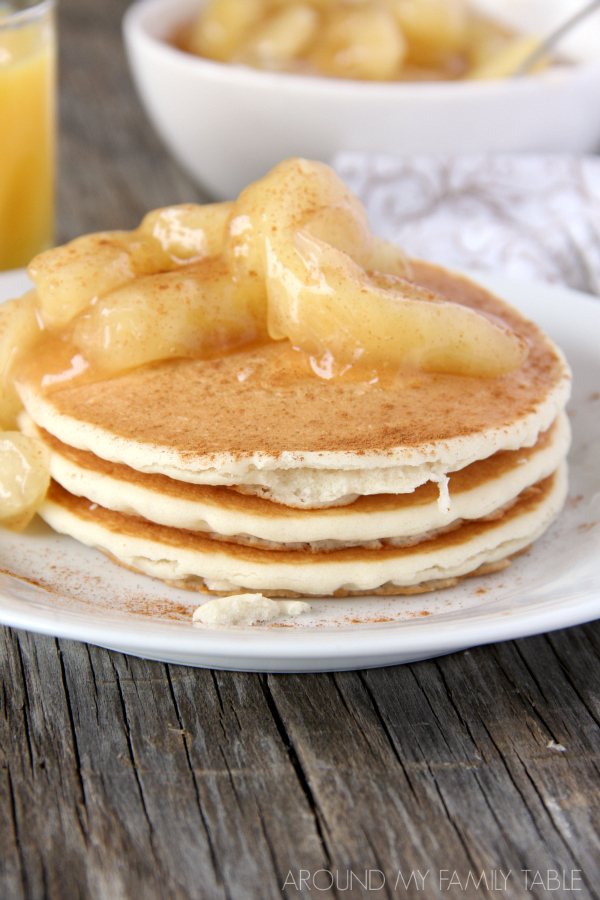 Delicious Apple Pie Pancakes....they're like restaurant pancakes only you get to stay home.