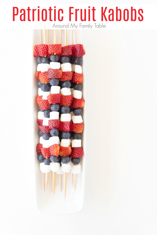 Fun party food doesn't have to be super involved or time consuming.  These Patriotic Fruit Kabobs are super festive and something the kids can help make too.