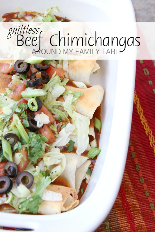 These GUILTLESS BEEF CHIMICHANGAS are baked, not fried and topped with tons of fresh veggies.