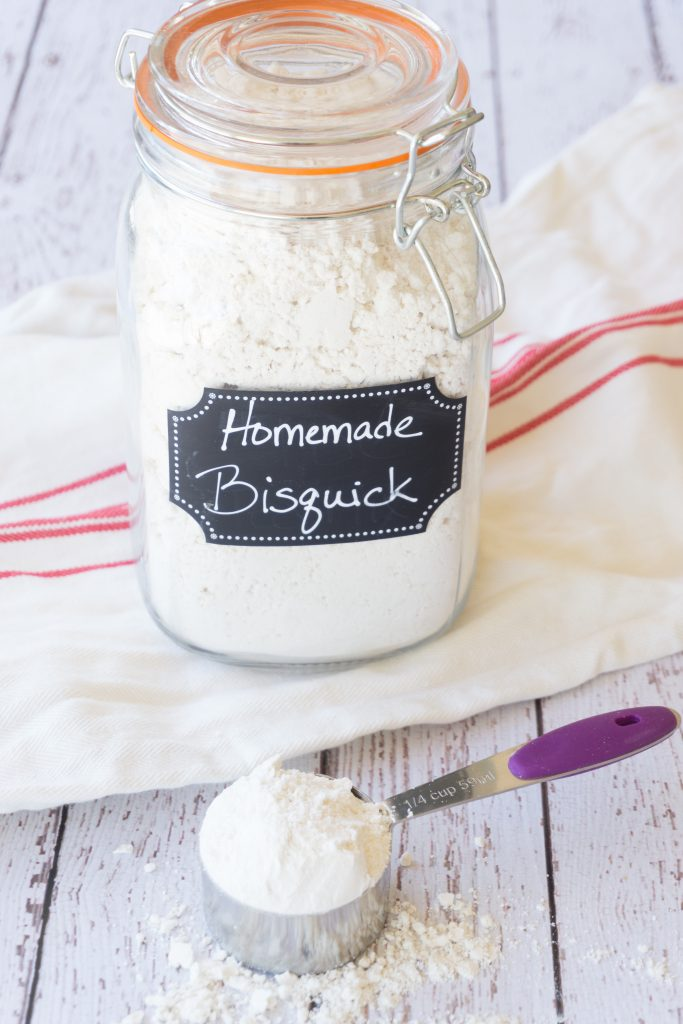 homemade Bisquick in clear glass jar with label