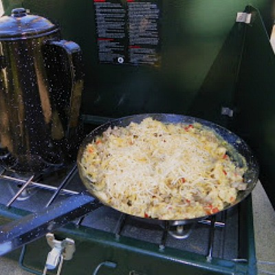 Egg and Sausage Scramble for Camping