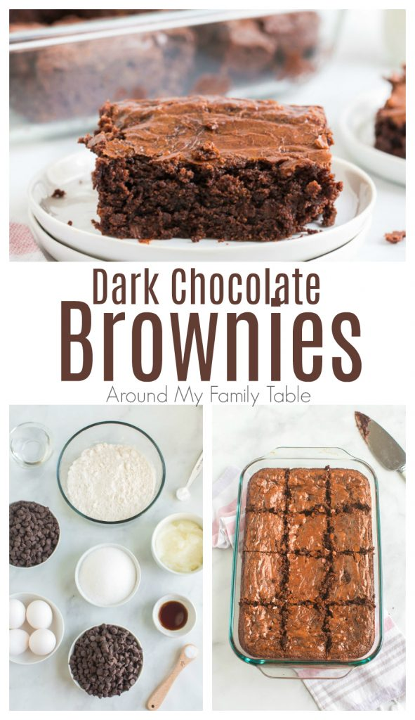 titled photo collage of dark chocolate brownies and ingredients to make them