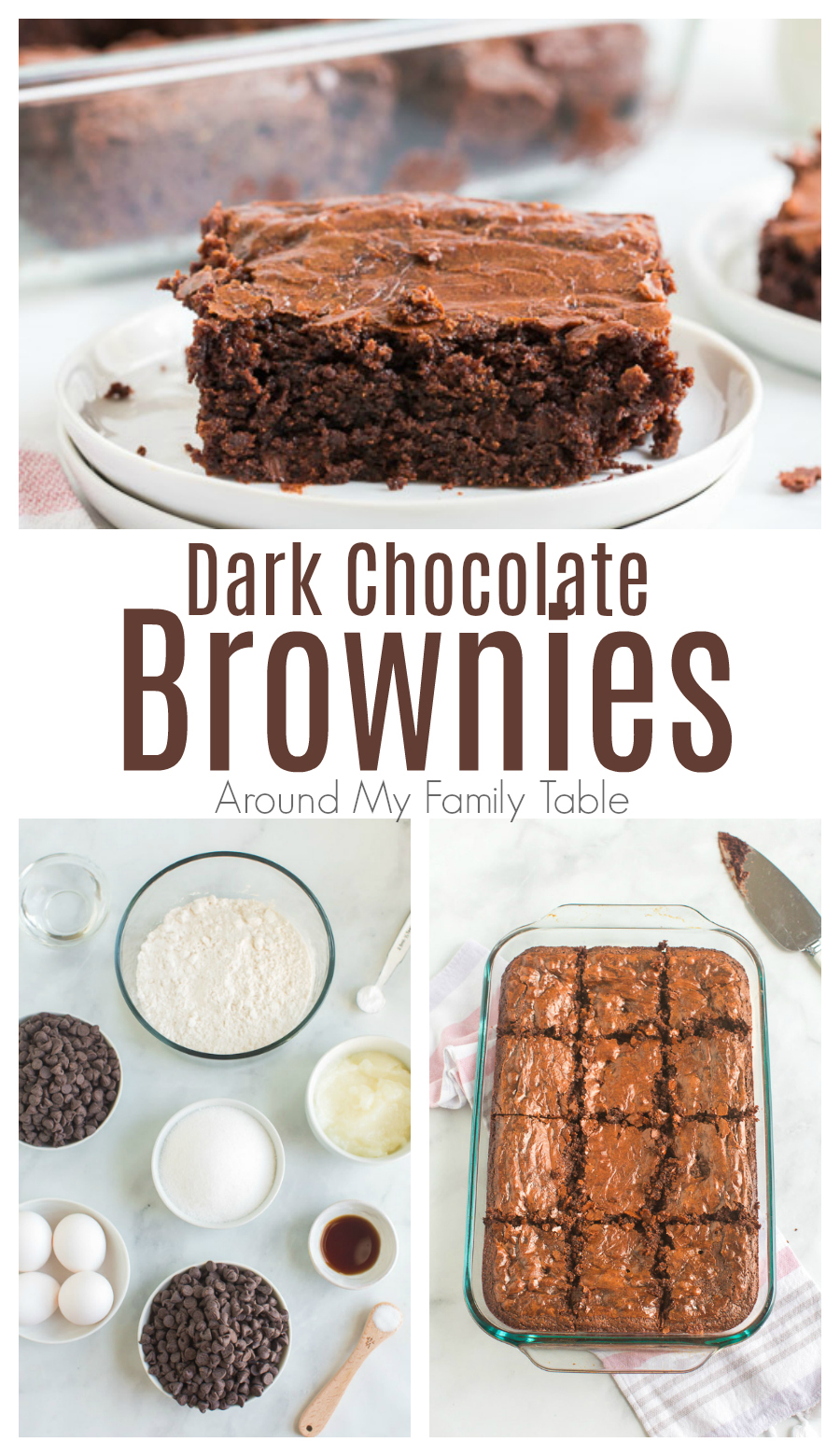 Dark chocolate brownies made with coconut oil are rich, fudgy, and have health benefits! Make this healthier brownie recipe for an easy dessert. via @slingmama