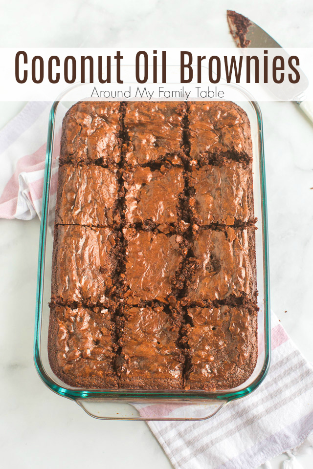 titled image shows coconut oil brownies, cut into 12 squares in a glass baking dish