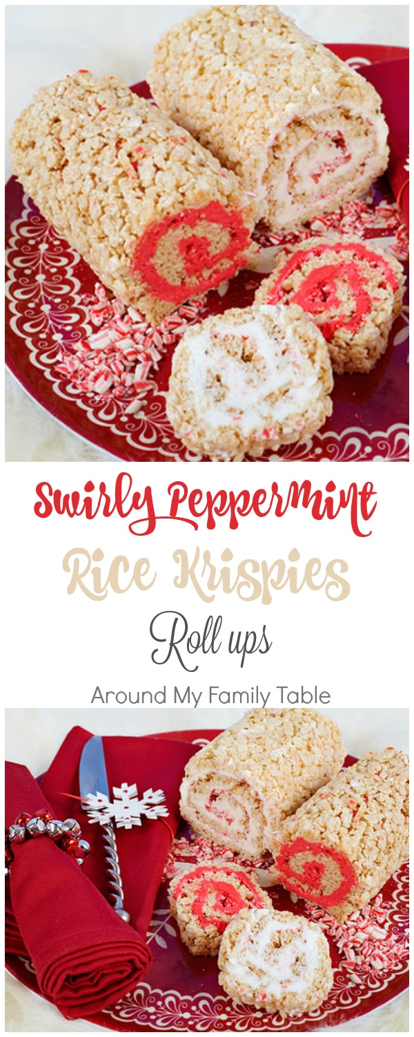 Swirly Peppermint Rice Krispies Roll-Ups - Rice Krispies treats rolled up with sweet peppermint filling
