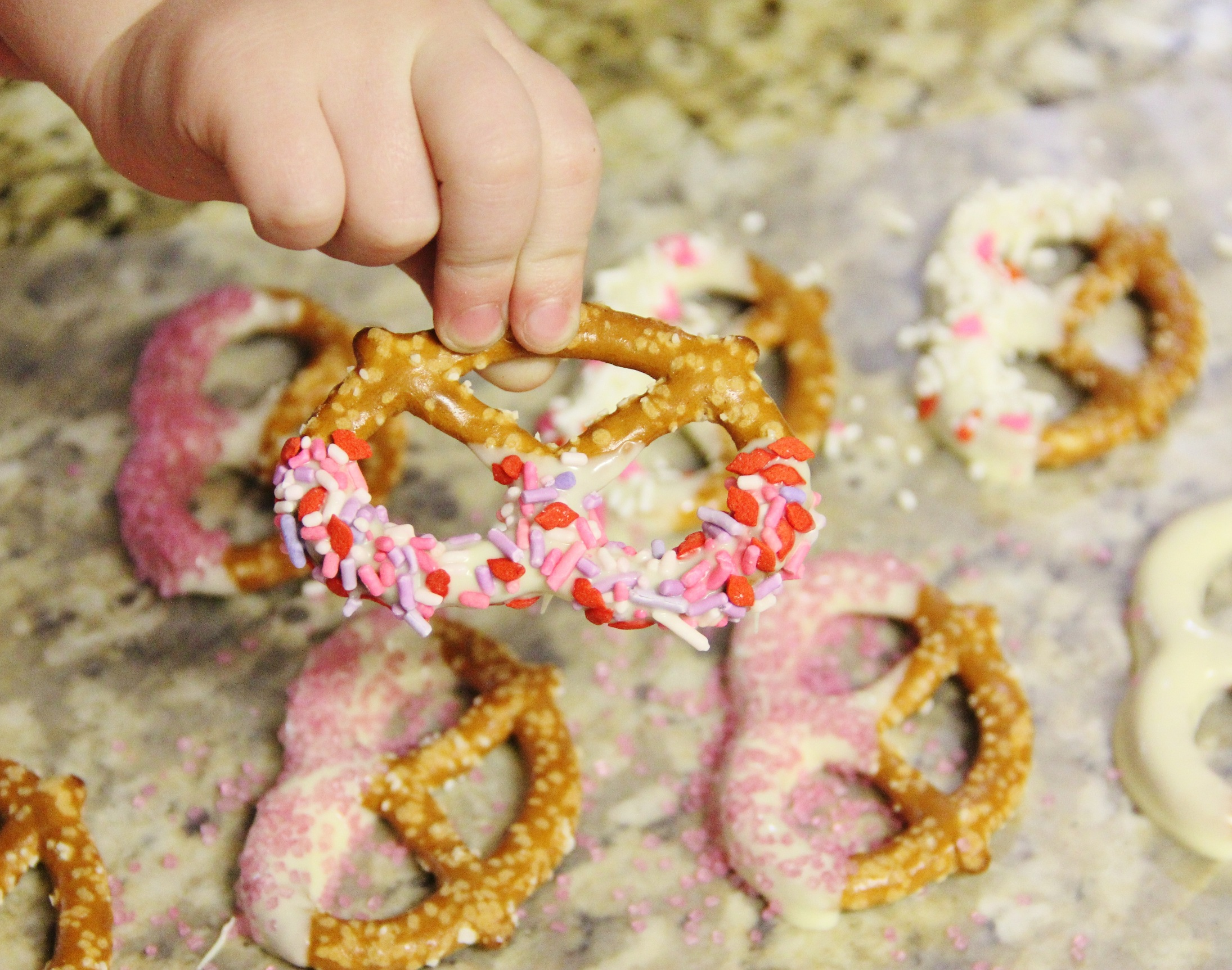 White Chocolate Dipped Pretzels - Around My Family Table