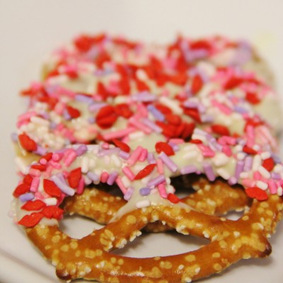 White Chocolate Dipped Pretzels
