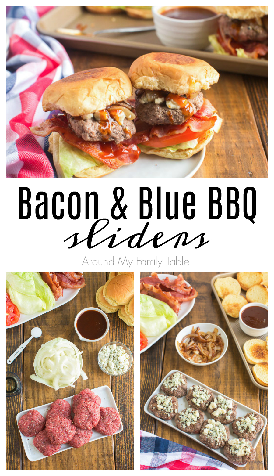 Bacon Blue Sliders are mini burgers with BBQ sauce, bacon, caramelized onions and blue cheese on top. Make this slider recipe for your next cookout! via @slingmama