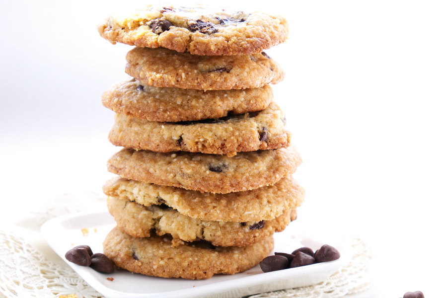 Crispy Chocolate Chip Cookies are perfect dipping in a tall glass of milk. The almond flour adds a slightly nutty flavor to traditional chocolate chip cookies.