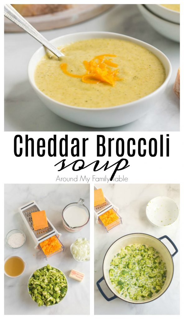 titled photo collage shows steps to make broccoli cheese soup
