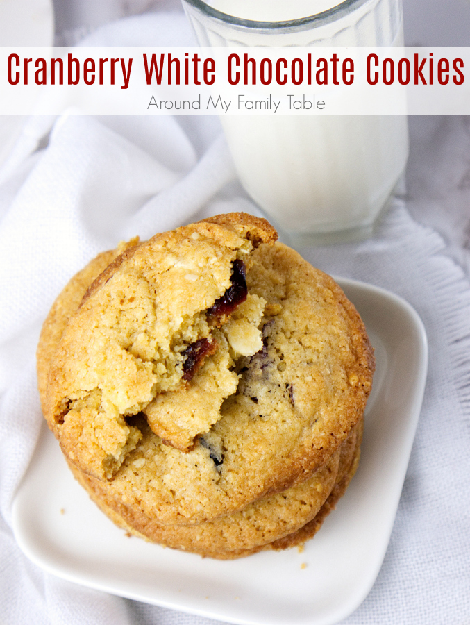 Tart and sweet, these Cranberry White Chocolate Cookies are festive and perfect for the holidays.  Everyone loves the tart dried cranberries in these crispy cookies.