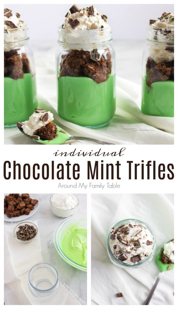 individual chocolate mint trifles in glass jars collage with ingredients