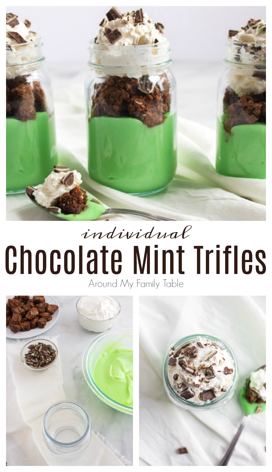 This easy Chocolate Mint Trifle Recipe is the perfect addition to any March festivities, but it's great year round too. All you need is some homemade brownies, pudding, chocolate mints, and a little whipped cream for this fun dessert. via @slingmama