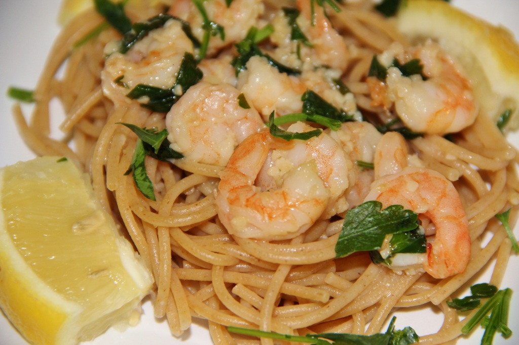 Shrimp Scampi with Whole Wheat Spaghetti - Around My Family Table