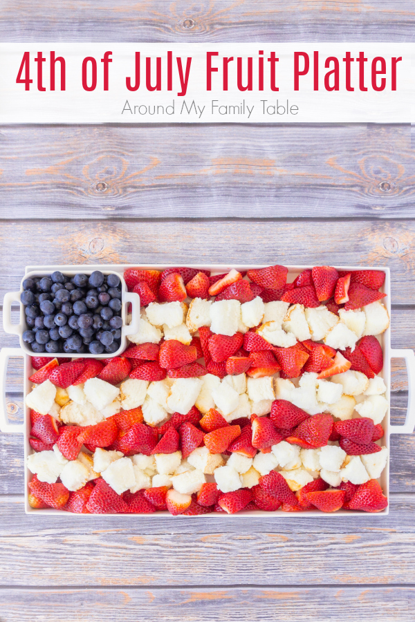 Take advantage of summer berries for this 4th of July Fruit Platter that is the perfect dessert for a hot summer night.  It's simple to throw together, looks festive, and is not very heavy. It's also a great make ahead dessert too!