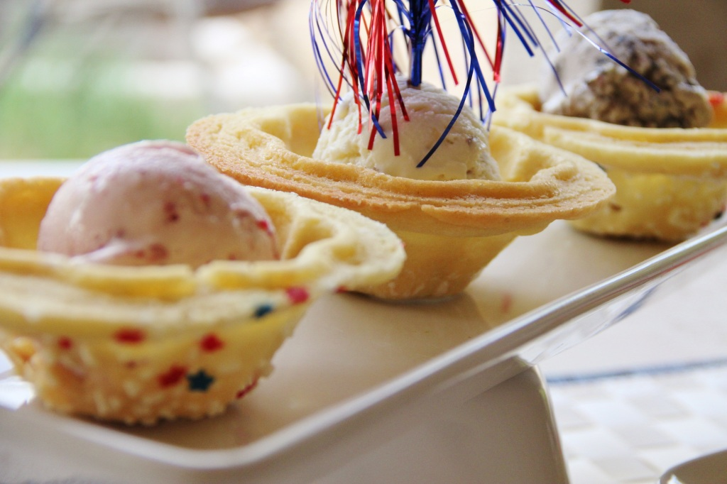 Patriotic and Festive!  3 homemade Ice Creams served in homemade Cookie Bowls