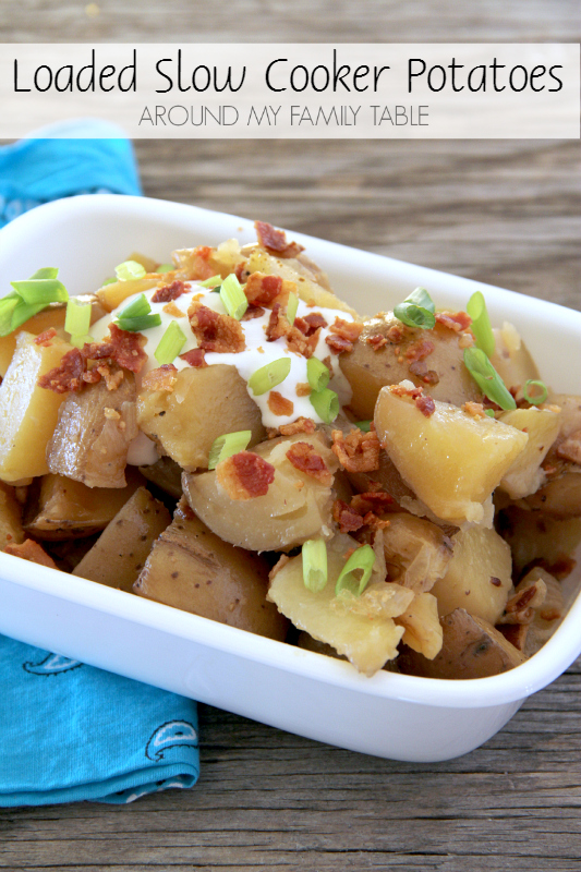 These potatoes cook most of the day in the slow cooker. That means supper is on the table without a lot of fuss!
