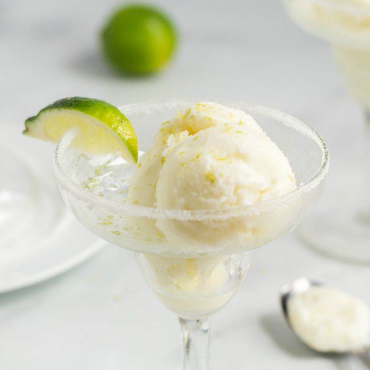 frozen margarita lime sherbet in a margarita glass