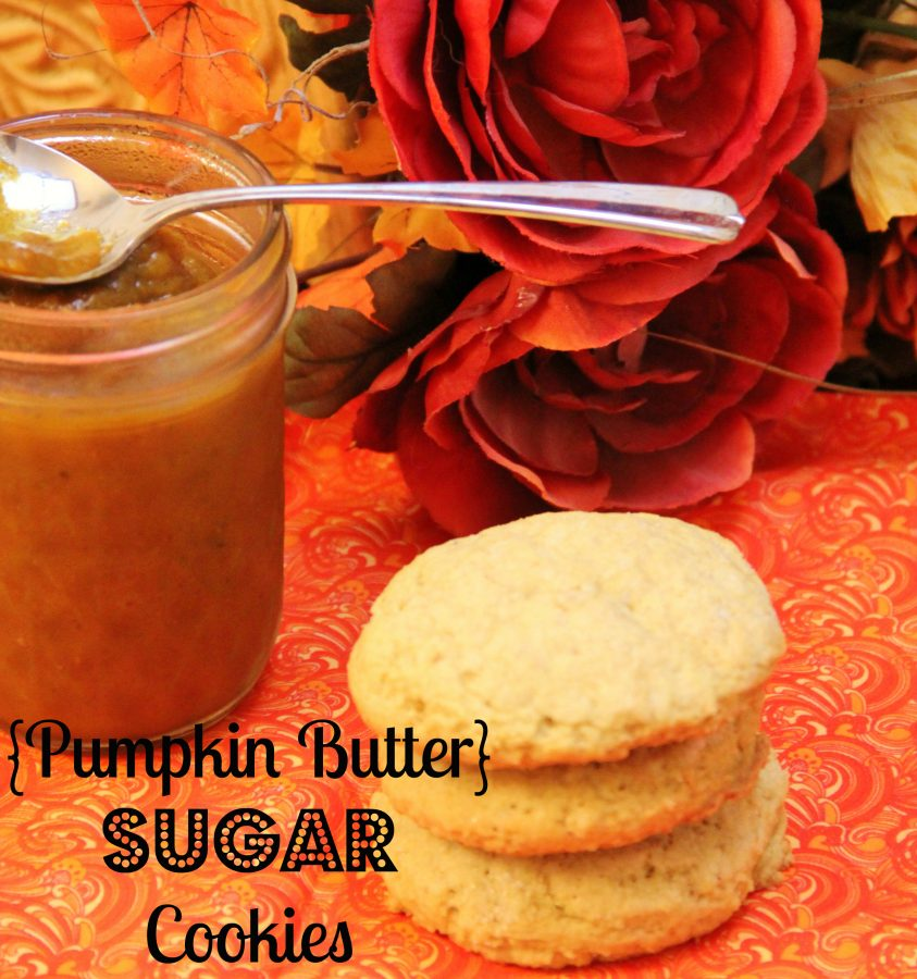 Delicious Pumpkin Butter Sugar Cookies are the perfect texture, not too cake like but not crunchy like a sugar cookie and just the right amount of pumpkin flavor!