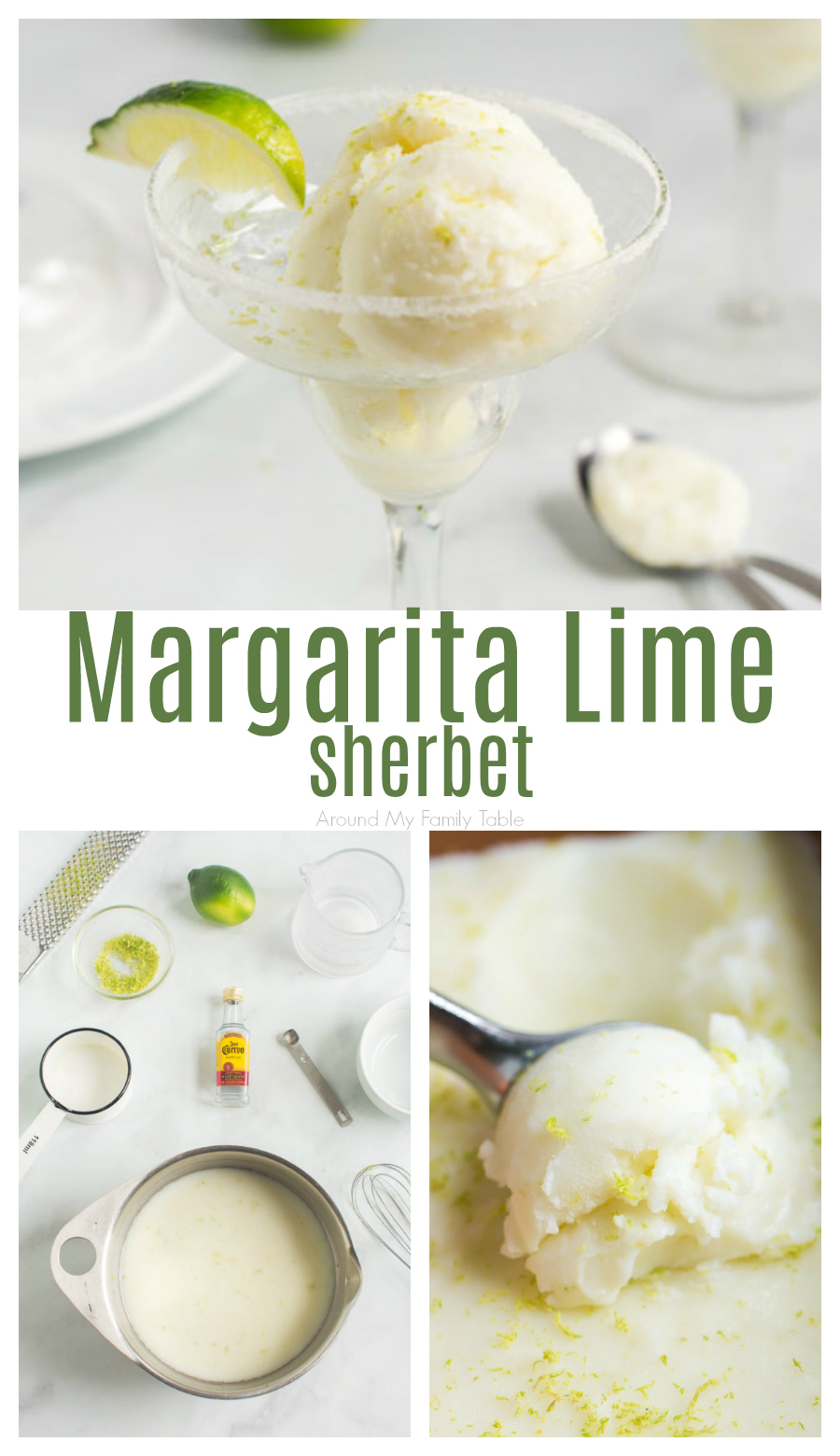 Lime sherbet marries a frozen margarita recipe to make a delicious, cool dessert! Make this easy sherbet recipe to enjoy this summer! via @slingmama