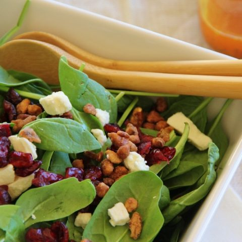 fall inspired spinach salad