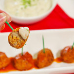 Buffalo Meatballs with Dairy Free Ranch Dressing
