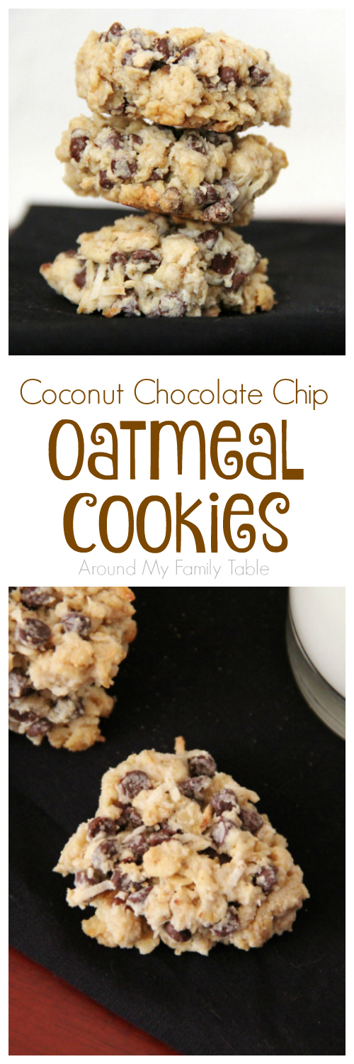 These Coconut Chocolate Chip Oatmeal Cookies are a cinch to make and can easily be made gluten free and vegan if needed.