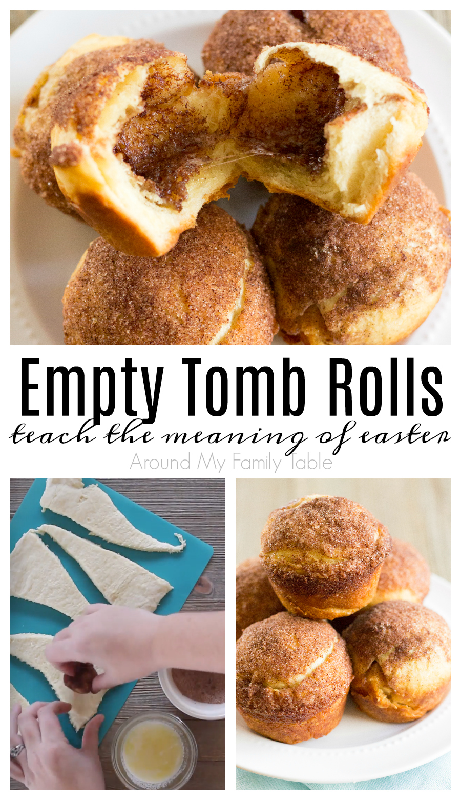 These delicious rolls are the perfect object lesson for kids on Easter morning that teaches the reason for celebrating Easter.  My Empty Tomb Rolls are a tradition in our family and have really become a family favorite. Plus I have a secret tip to help keep the rolls together while baking. #easter #emptytombrolls #resurrectionrolls #easterstory #christian via @slingmama