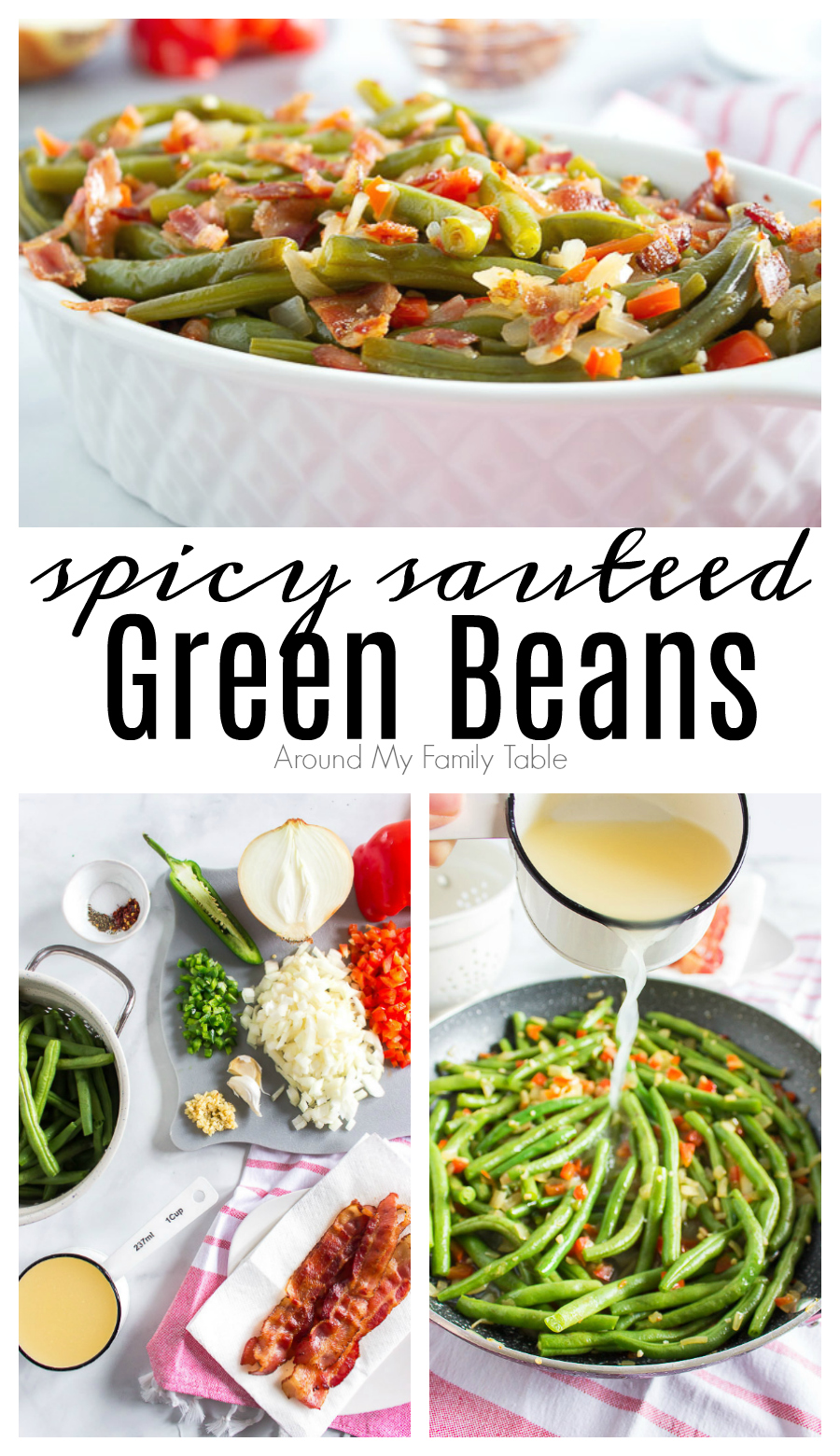 Sauteed green beans with bacon, veggies and spicy peppers is delicious and easy to prepare. Make this recipe to replace green bean casserole! via @slingmama
