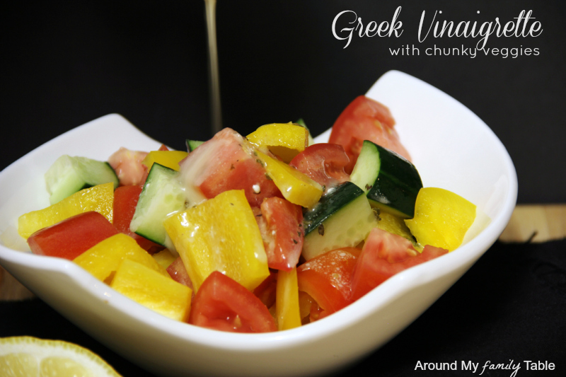 Greek Vinaigrette with feta and chunky veggies