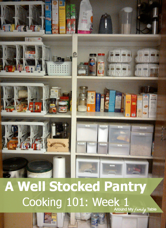 well stocked pantry....Cooking 101 Basics week 1 class