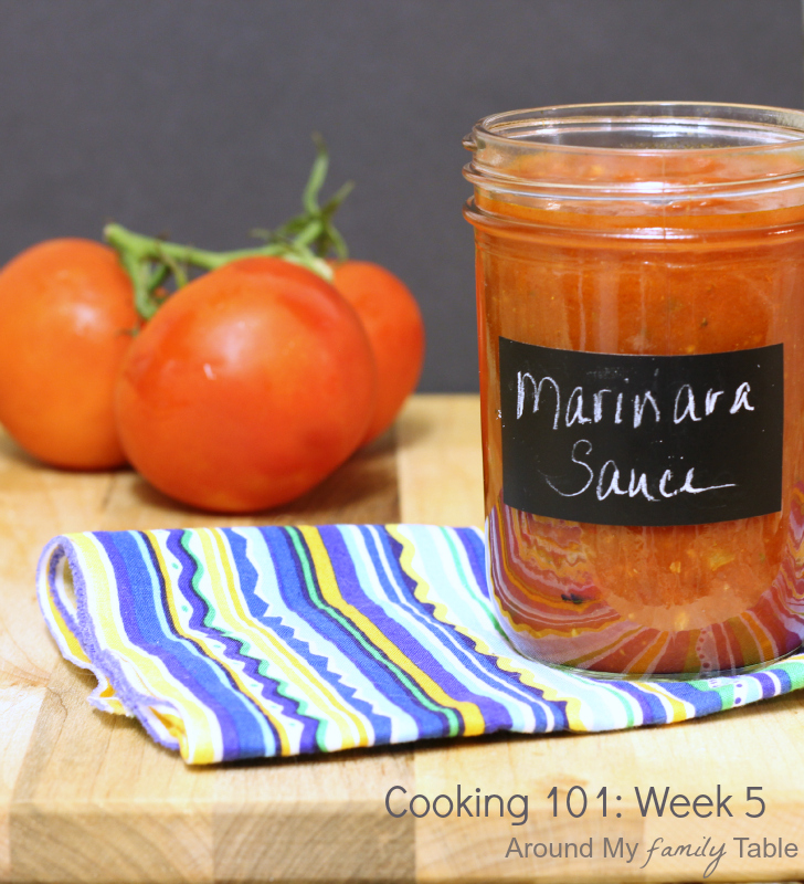 Homemade Marinara Sauce...part of a free 16 week cooking class