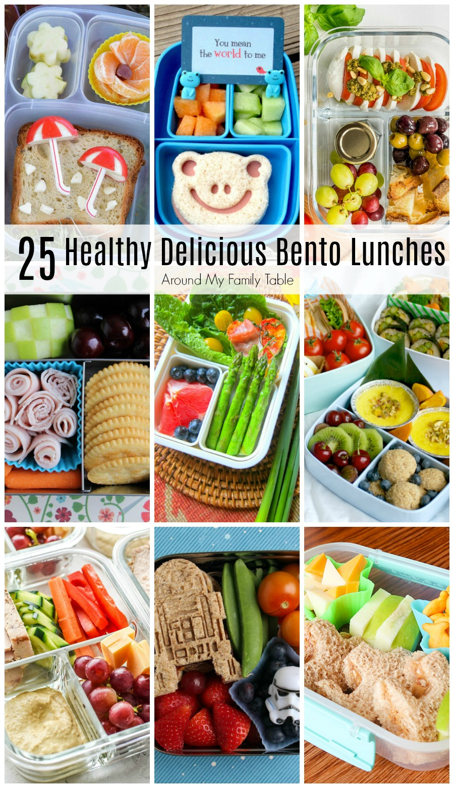 collage of bento lunches