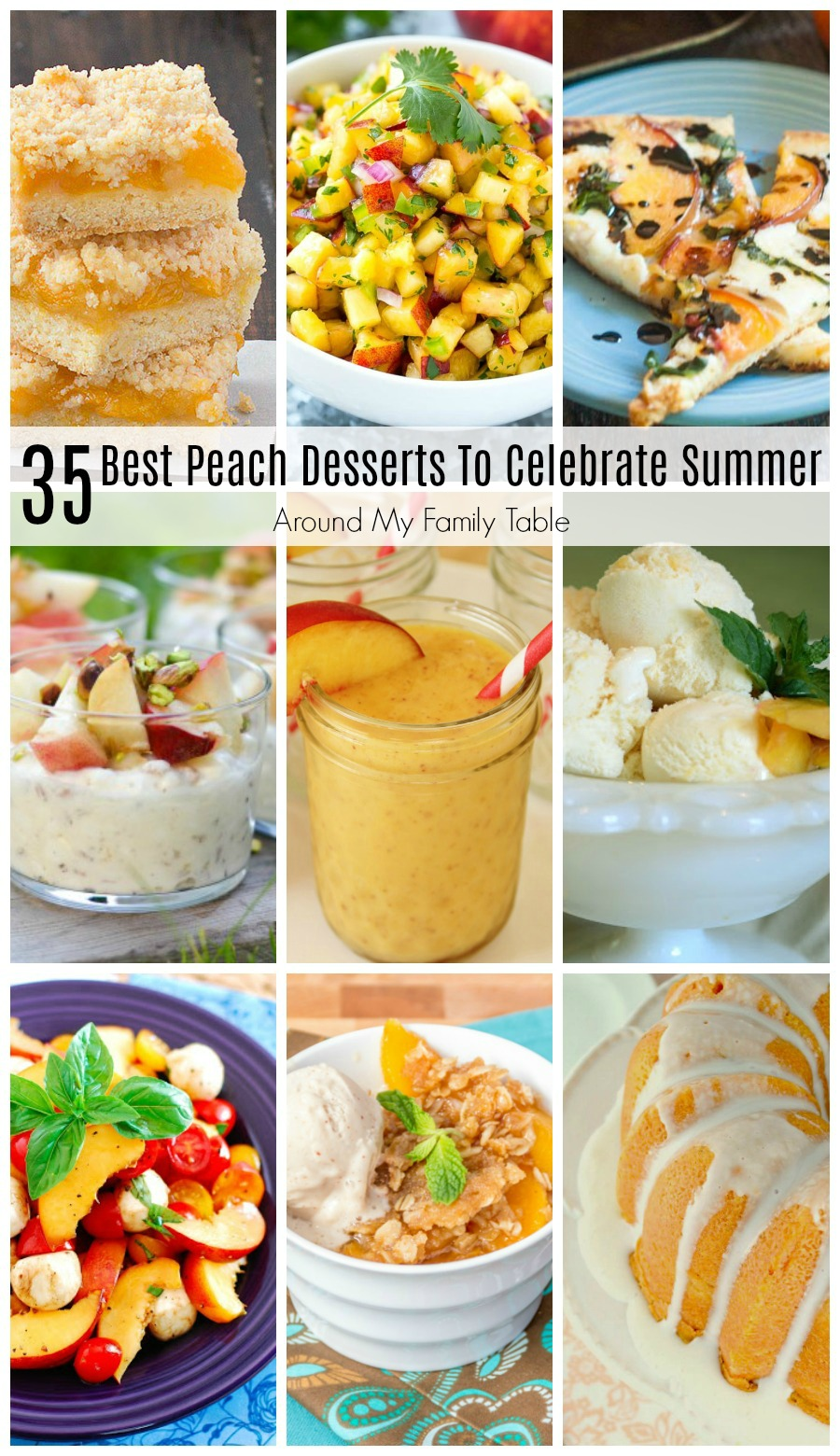 Wanna know what the Best Peach Desserts to Celebrate Summer are?  Well, I've found 35 that I think y'all are gonna love! #peaches #peachdesserts #peachrecipes