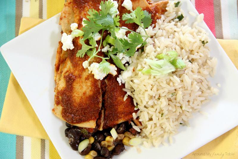 Black Bean Enchiladas made from leftover black bean soup