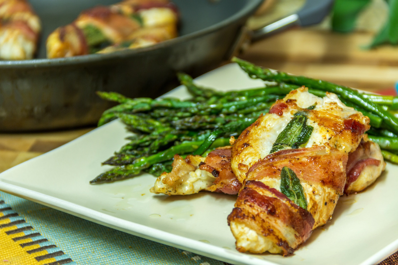 Bacon Wrapped Garlic Sage Chicken