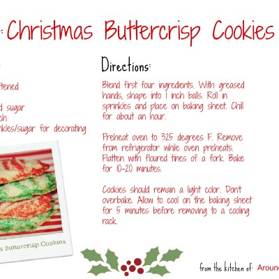 Christmas Buttercrisp Cookies Recipe Card