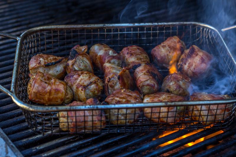 BBQ Bacon Meatball Skewers