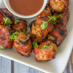 BBQ Bacon Meatball Skewers